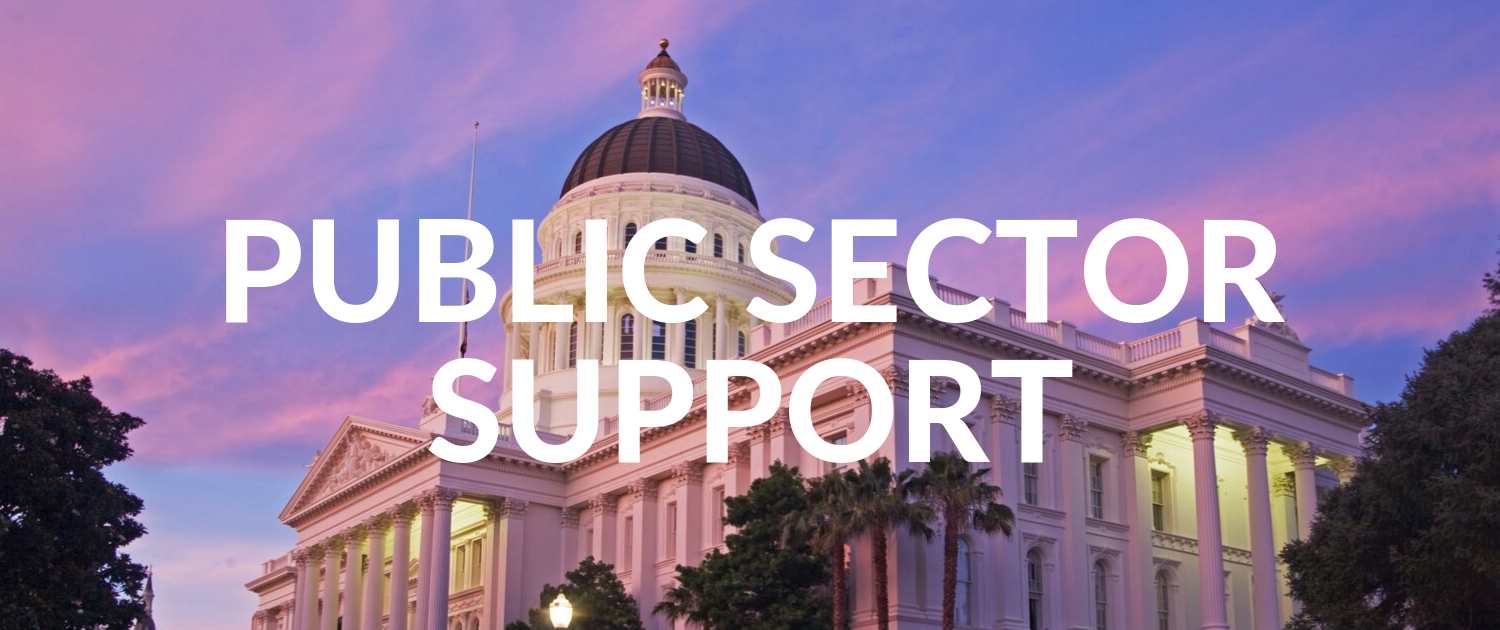 """California State Capitol Building with phrase """"Public Sector Suport"""""""